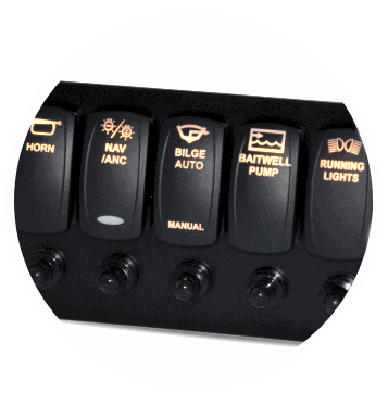 Backlit Switch Panel with Breakers