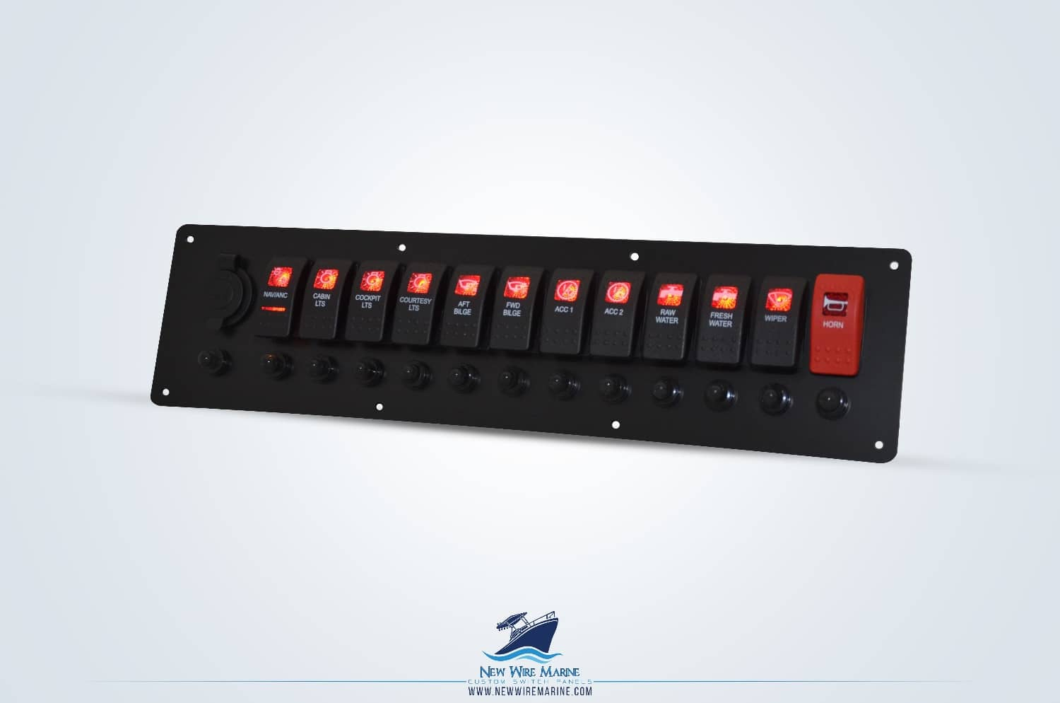 boat switch panel in black with red contura II printed rocker switches and 12V socket
