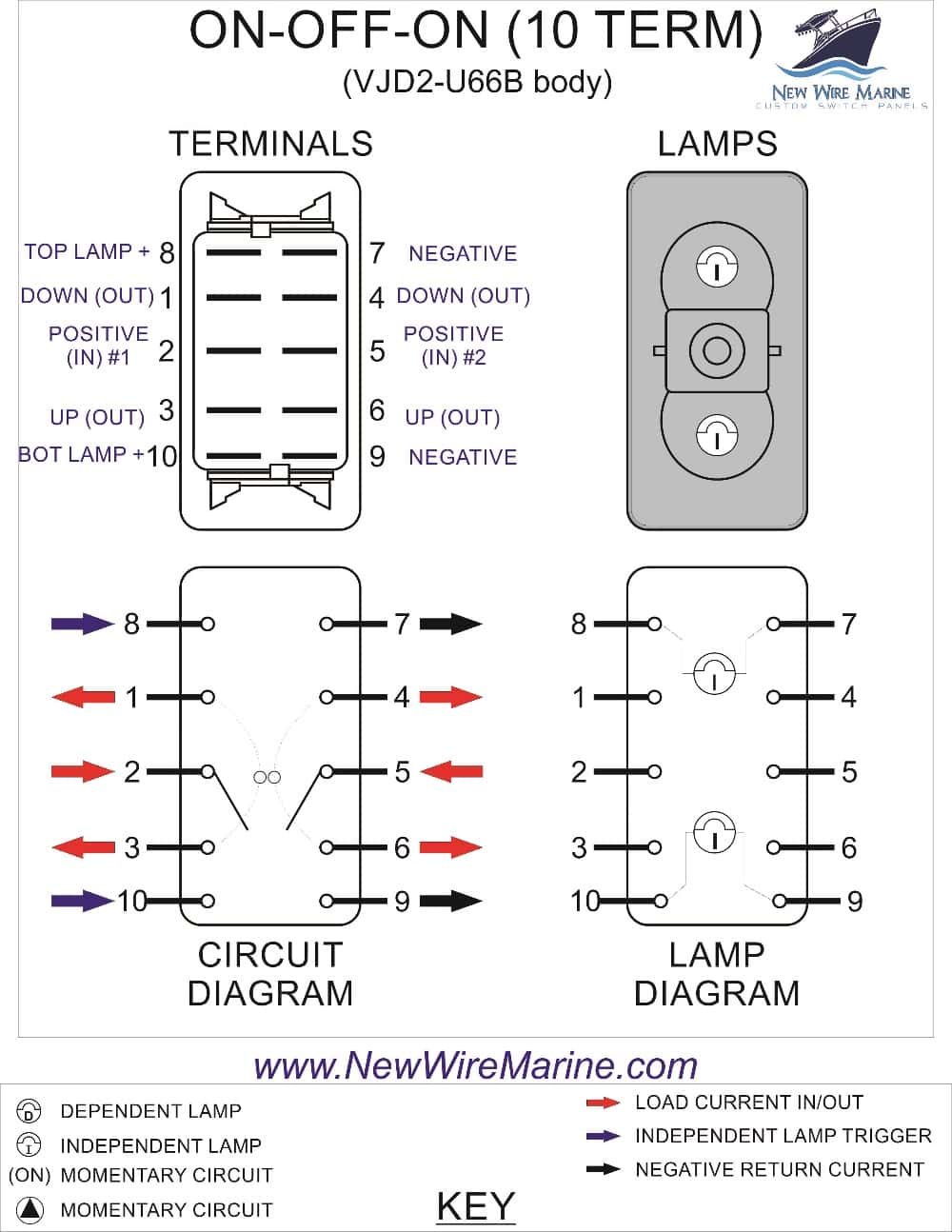 DPDT backlit rocker switch wiring diagram