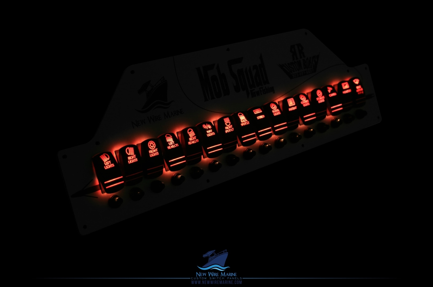 red LED custom switch panel for spearfishing boat