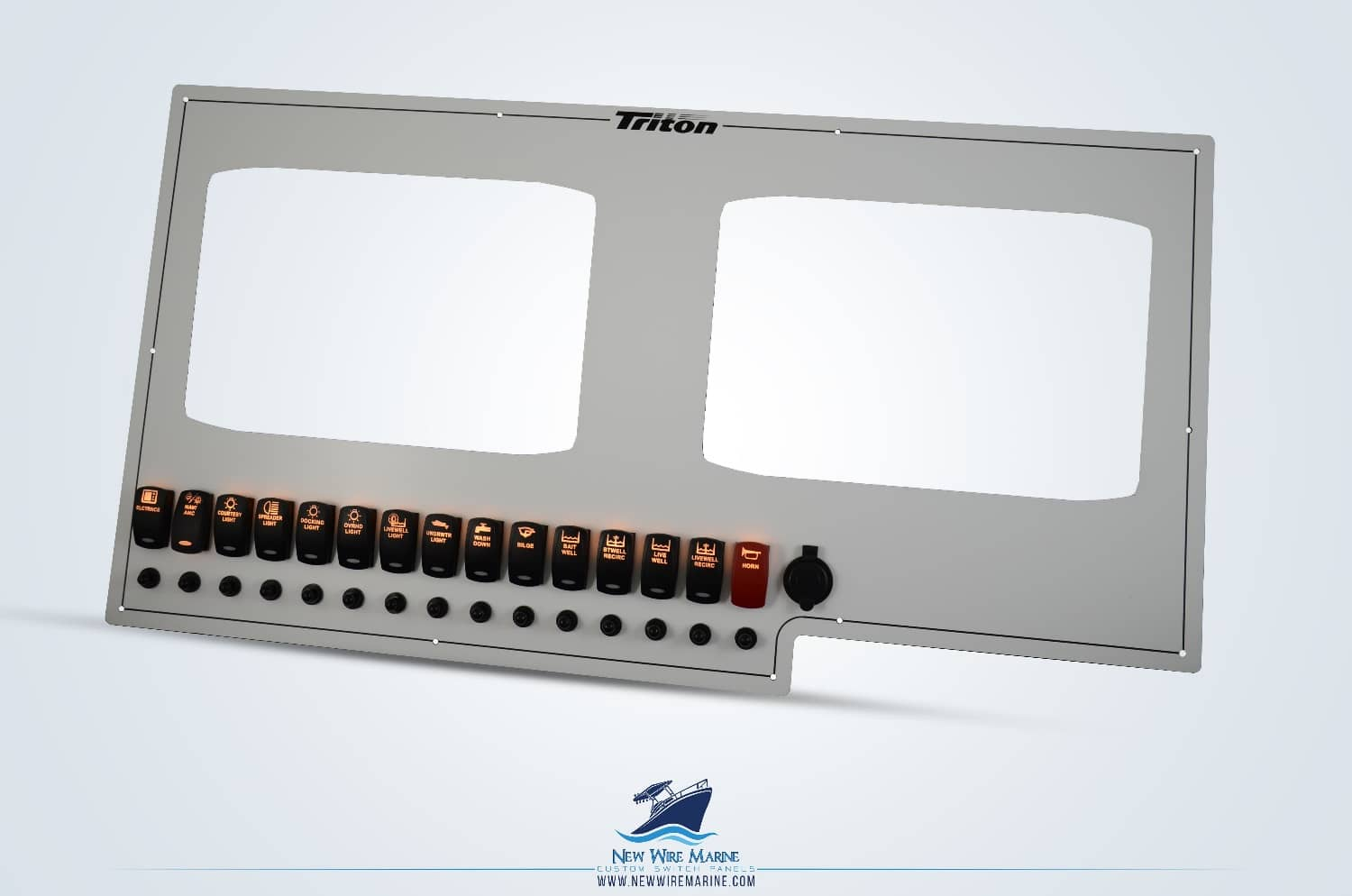 large Triton boats dash panel with logo etching and illuminated switches